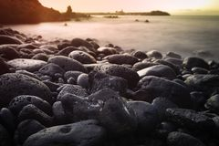 Μακροχρόνια έκθεση που πυροβολείται της όμορφης ανατολής Tenerife, Ισπανία Στοκ εικόνα με δικαίωμα ελεύθερης χρήσης