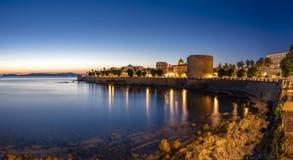 Μακροχρόνια έκθεση σε Alghero στην μπλε ώρα στοκ εικόνες με δικαίωμα ελεύθερης χρήσης