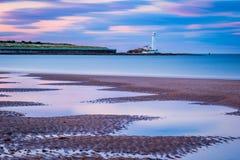 Μακροχρόνια έκθεση στην παραλία κόλπων Whitley Στοκ Εικόνες