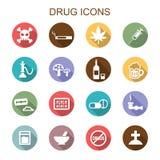 Μακροχρόνια εικονίδια σκιών φαρμάκων Στοκ Εικόνες