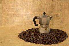 μακροχρόνια διαδικασία προετοιμασιών φωτογραφιών μηχανών έκθεσης espresso καφέ Στοκ Εικόνα