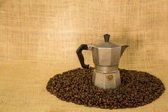 μακροχρόνια διαδικασία προετοιμασιών φωτογραφιών μηχανών έκθεσης espresso καφέ Στοκ Φωτογραφία
