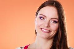 Μακροχρόνιο ευθύ πορτρέτο τρίχας γυναικών makeup Στοκ Φωτογραφίες