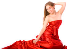 μακροχρόνιο κόκκινο κοριτσιών φορεμάτων Στοκ Εικόνες