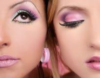 Μακρο δύο πρόσωπα Makeup closeupl στο ροζ Στοκ φωτογραφία με δικαίωμα ελεύθερης χρήσης
