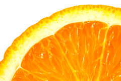 Μακρο εικόνα του ώριμου πορτοκαλιού στενό πορτοκάλι επάνω απομονωμένος Στοκ Εικόνα