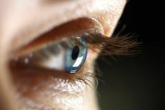 Μακρο θηλυκό μάτι κινηματογραφήσεων σε πρώτο πλάνο Στοκ Εικόνα
