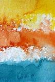 Μακρο κίτρινο πορτοκαλί μπλε και άσπρο υπόβαθρο 2 Watercolour στοκ φωτογραφία