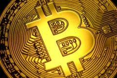 Μακρο κινηματογράφηση σε πρώτο πλάνο σημαδιών συμβόλων Bitcoin Στοκ εικόνα με δικαίωμα ελεύθερης χρήσης