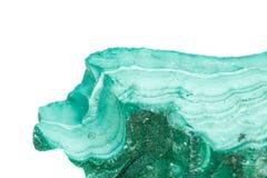 Μακρο ορυκτό Malachite πετρών στο βράχο σε ένα άσπρο υπόβαθρο στοκ εικόνες με δικαίωμα ελεύθερης χρήσης
