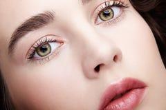 Μακρο πορτρέτο προσώπου ομορφιάς κινηματογραφήσεων σε πρώτο πλάνο της νέας γυναίκας δέρμα σακακιών κοριτσιών brunett στοκ εικόνα