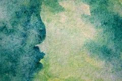 Μακρο πράσινος με τις μπλε συστάσεις 11 Watercolour διανυσματική απεικόνιση