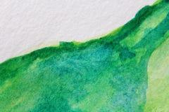 Μακρο πράσινος με τις μπλε συστάσεις 7 Watercolour απεικόνιση αποθεμάτων