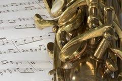 Μακρο πυροβολισμός της γενικής ιδέας Saxophone Στοκ Εικόνα