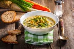 μακρο ρηχό λαχανικό σούπας εστίασης Στοκ Εικόνα