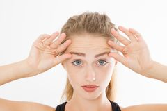 Μακρο ρυτίδες στο μέτωπο γυναικών Έννοια φροντίδας δέρματος διάστημα αντιγράφων στοκ φωτογραφία με δικαίωμα ελεύθερης χρήσης