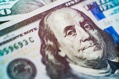 Μακρο στενός επάνω του προσώπου του Ben Franklin ` s στο λογαριασμό αμερικανικών δολαρίων Στοκ φωτογραφίες με δικαίωμα ελεύθερης χρήσης