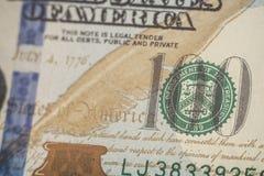 Μακρο στενός επάνω του προσώπου του Ben Franklin ` s στο λογαριασμό αμερικανικών δολαρίων Στοκ Εικόνα