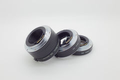 Μακρο σωλήνας επέκτασης δαχτυλιδιών που χρησιμοποιείται για τη μακρο φωτογραφία επάνω στοκ φωτογραφίες με δικαίωμα ελεύθερης χρήσης