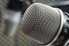 Μακρο φωτογραφία ενός φωνητικού μικροφώνου Στοκ Εικόνα