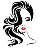 Μακρυμάλλες εικονίδιο ύφους γυναικών, πρόσωπο γυναικών λογότυπων στο άσπρο υπόβαθρο