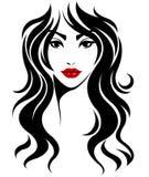 Μακρυμάλλες εικονίδιο ύφους γυναικών, πρόσωπο γυναικών λογότυπων στο άσπρο υπόβαθρο Στοκ Εικόνες