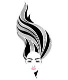Μακρυμάλλες εικονίδιο ύφους γυναικών, πρόσωπο γυναικών λογότυπων στο άσπρο υπόβαθρο Στοκ φωτογραφία με δικαίωμα ελεύθερης χρήσης