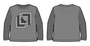 Μακρύς-sleeved μπλούζα με τη γεωμετρική τυπωμένη ύλη Στοκ Εικόνες