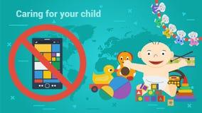 Μακρύ έμβλημα - παιχνίδια παιδιών και έξυπνο τηλέφωνο ελεύθερη απεικόνιση δικαιώματος