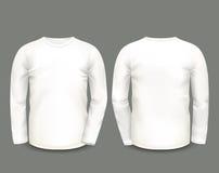 Μακρύ μανίκι μπλουζών ατόμων άσπρο κατά τις μπροστινές και πίσω απόψεις δρύινο διάνυσμα προτύπων κορδελλών φύλλων δαφνών συνόρων  Στοκ Εικόνα