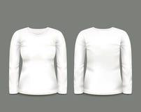 Μακρύ μανίκι μπλουζών γυναικών άσπρο κατά τις μπροστινές και πίσω απόψεις δρύινο διάνυσμα προτύπων κορδελλών φύλλων δαφνών συνόρω Στοκ φωτογραφίες με δικαίωμα ελεύθερης χρήσης