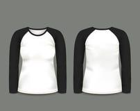 Μακρύ μανίκι μπλουζών ρεγκλάν γυναικών μαύρο κατά τις μπροστινές και πίσω απόψεις δρύινο διάνυσμα προτύπων κορδελλών φύλλων δαφνώ Στοκ φωτογραφία με δικαίωμα ελεύθερης χρήσης