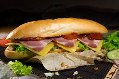 Μακρύ σάντουιτς με το κρέας, τα λαχανικά και τη σάλτσα σχαρών Στοκ Εικόνες