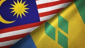 Μαλαισία και Άγιος Βικέντιος και Γρεναδίνες δύο υφαντικό ύφασμα σημαιών διανυσματική απεικόνιση