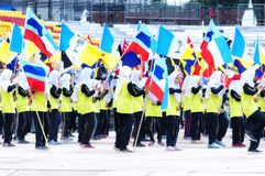 Μαλαισιανοί σπουδαστές που ασκούν για τη Hari Merdeka στη Μαλαισία, Κουάλα Λουμπούρ στοκ εικόνες