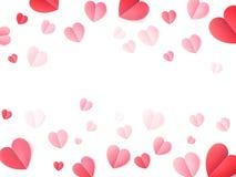 Μαλακές διπλωμένες χρώμα καρδιές εγγράφου που απομονώνονται στο λευκό 10 eps διανυσματική απεικόνιση