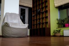 Μαλακή πολυθρόνα μπροστά από τα ράφια Στοκ Εικόνες
