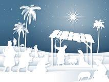 Μαλακή σκηνή Nativity Χριστουγέννων σκιαγραφιών σκιών άσπρη με τους μάγους διανυσματική απεικόνιση