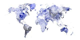 Μαλακός μπλε παγκόσμιος χάρτης με τους μπλε λεκέδες στοκ φωτογραφίες