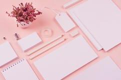 Μαλακός ρόδινος μοντέρνος χώρος εργασίας κρητιδογραφιών με ξηρό lavender λουλουδιών και το κενό σημειωματάριο, επικεφαλίδα, επαγγ Στοκ Εικόνες