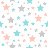 Μαλακό άνευ ραφής υπόβαθρο αστεριών κρητιδογραφιών Γκρίζο, ρόδινο και μπλε αστέρι απεικόνιση αποθεμάτων