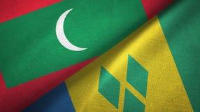 Μαλδίβες και Άγιος Βικέντιος και Γρεναδίνες δύο υφαντικό ύφασμα σημαιών διανυσματική απεικόνιση