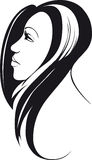 μαλλιαρή μακριά γυναίκα Ελεύθερη απεικόνιση δικαιώματος