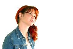 μαλλιαρό κόκκινο κοριτσ& Στοκ Φωτογραφίες