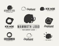 Μαμμούθ σύνολο λογότυπων σκιαγραφιών διανυσματικό στοκ φωτογραφία με δικαίωμα ελεύθερης χρήσης