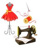 Μανεκέν, φόρεμα, ράβοντας μηχανή που απομονώνεται ελεύθερη απεικόνιση δικαιώματος
