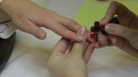 Μανικιουρίστας που εφαρμόζει τη στιλβωτική ουσία πηκτωμάτων στο νύχι απόθεμα βίντεο