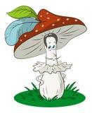 Μανιτάρια μύγα-αγαρικών κινούμενων σχεδίων ελεύθερη απεικόνιση δικαιώματος