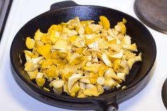 Μανιτάρια που τηγανίζονται σε ένα παλαιό τηγανίζοντας τηγάνι χυτοσιδήρου Στοκ Εικόνα