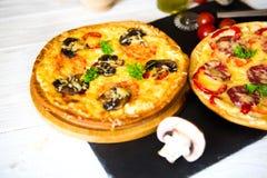 Μανιτάρι και φυτική πίτσα και πίτσα σαλαμιού στην πλάτη Στοκ εικόνα με δικαίωμα ελεύθερης χρήσης